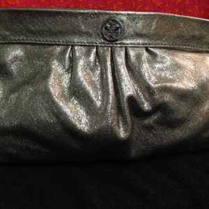 Tory Burch Leather Clutch -Silver